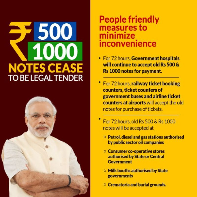 Rs. 500 and Rs 1000 old note banned