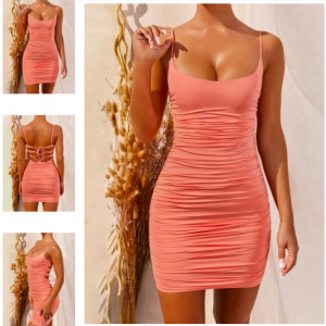 Romance Orange Pleated Open Dress