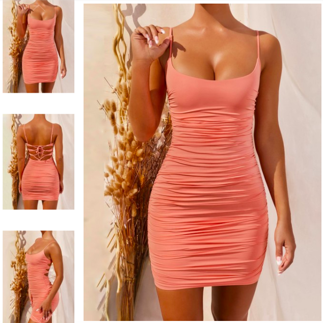 Romance Orange Pleated Open Dress