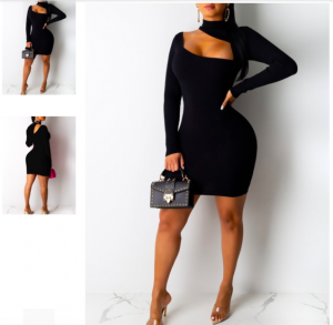 Alluring Black Long Sleeve Cutout Bodycon Dress Fashion For Women